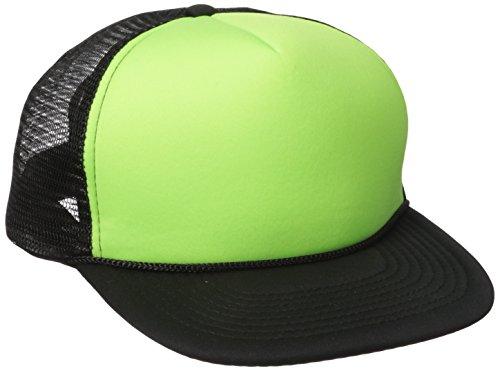 DECKY Flat Bill Neon Trucker Cap, Black/Neon (Neon Hat)