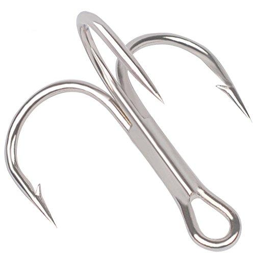Trenton 50 Pcs Round Bend Classic Sharp Treble Fishing Hooks for Saltwater Fishing size (1/0 Treble Hook)