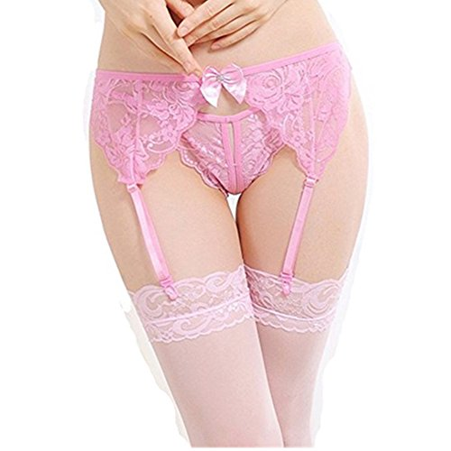 MISMXC Women's 3 Pieces Lace Garter Belt and Stockings Sets with G-string panty (Pink)