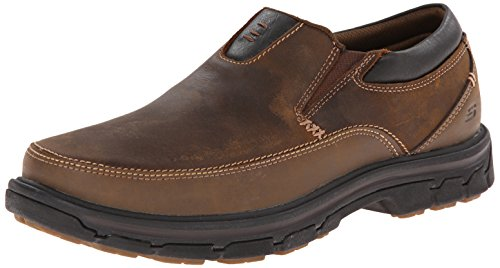 Shoes Men Casual Leather (Skechers USA Men's Segment The Search Slip On Loafer, Dark Brown, 14 M US)