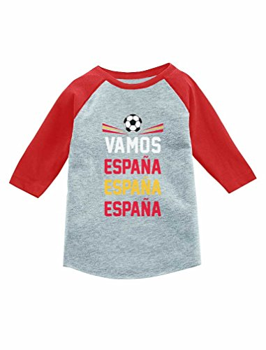 Vamos Espana - Come On Spain Soccer Fan 3/4 Sleeve Baseball Jersey Toddler Shirt 5/6 Red