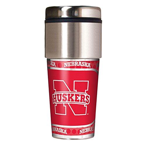 NCAA Nebraska Cornhuskers Travel Tumbler with Metallic Wrap, 16 oz, Silver ()
