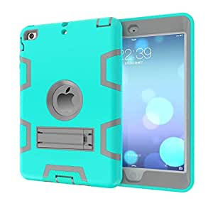 - Rubber With Stand Cover Case For iPad Air 2 iPad 6 Turquoise And Grey