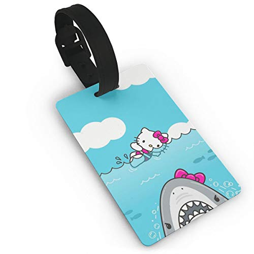 WSXEDC Luggage Tags Hello Kitty and Shark Suitcase Labels Bag Tag Travel ID Identifier Baggage Tag ()