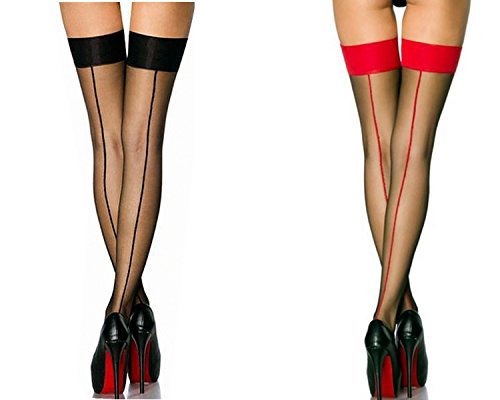 2 Pair Nylon Sexy Thigh High Stockings With Back Seam For Women Suspender Garter Belts Cuban Heel Tights Pantyhose (Red Thigh High Tights)