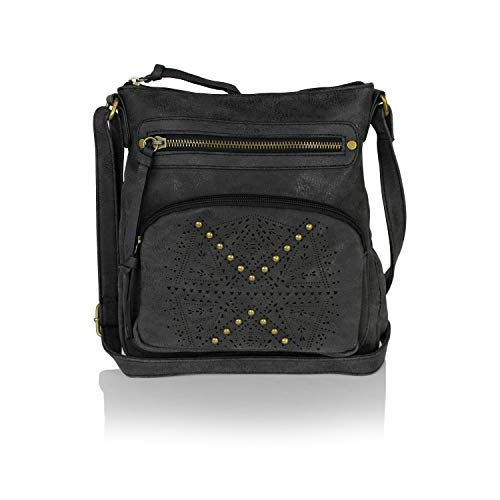 Bohemian Laser Cut Design Faux Suede Perforated Crossbody Bag with Large Tassel (Studded Shiny Vintage Black) ()