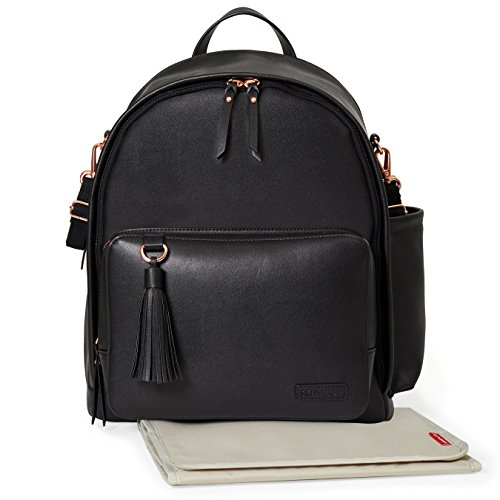 Skip Hop Diaper Bag Backpack, Greenwich Multi-Function Baby Travel Bag With Changing Pad And Stroller Straps, Vegan Leather, Black/Rose Gold by Skip Hop (Image #2)