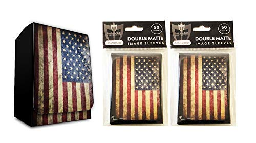 USA Design Deck Box + 100 Double Matte Sleeves (fits MTG, Pokemon, Force of Will Cards)