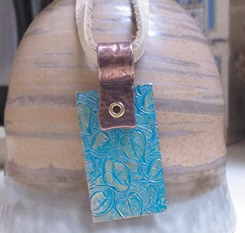 Turquoise Blue, Embossed, Copper and Brass Pendant on Fawn Colored Real Leather Cord Necklace