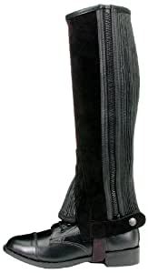 Tough 1 Suede Leather Half Chaps, Black, Small