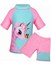 Suyye Girls Unicorn Tankini Two Pieces Swimsuits Rash Guard Kids Swimwear (Green/Pink Short, 6-7 Years)