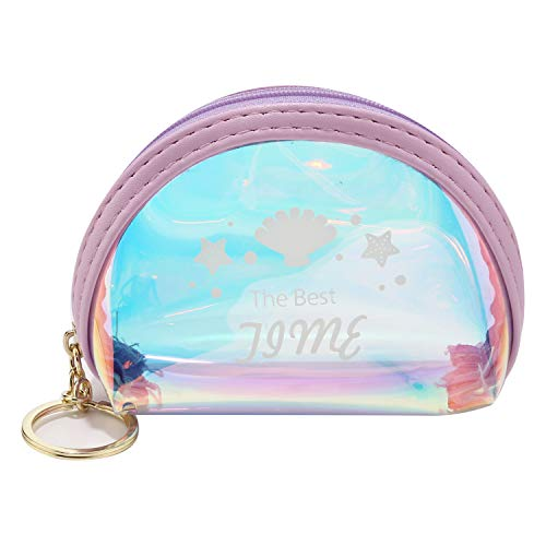 (Holographic Coin Purse Transparent Change Wallet Laser PVC Change Purse with Zipper Key Ring (Shell Purple))