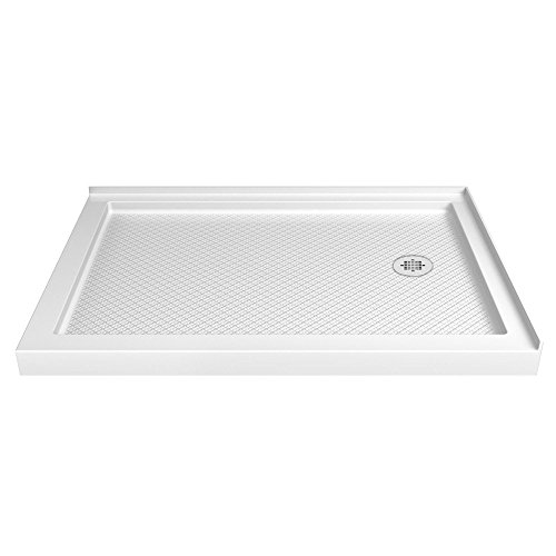 DreamLine SlimLine 34 in. D x 48 in. W x 2 3/4 in. H Right Drain Double Threshold Shower Base in White, DLT-1034482 ()