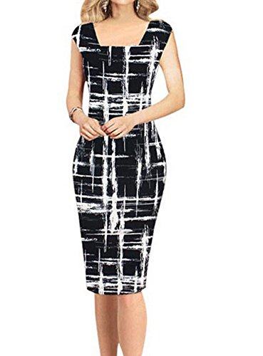 Women's Casual Striped Print Wear to Work office Career Sheath Dress (Label XL) Kids Career Dress