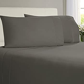 Linenwalas Luxury 100% Organic Bamboo Sheets - 4-Piece Bed Sheet Set - Softest Bedsheets and Pillow Cases - Sateen Finish - Queen Size - Grey