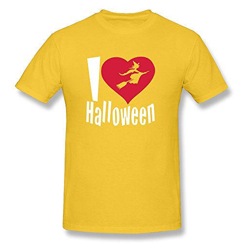 Happy Halloween O Neck Men's T-Shirt Yellow Size XL Vintage By Rahk -