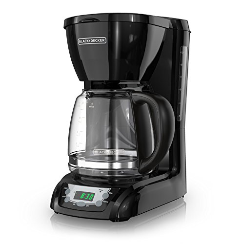 BLACK+DECKER 12-Cup Programmable Coffeemaker, Black, DLX1050B (Coffee Timer)