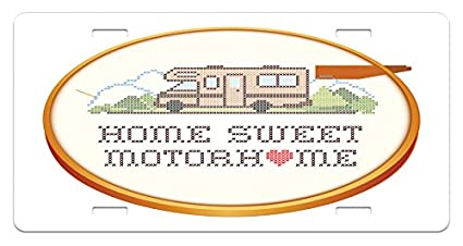 Amazoncom Ambesonne Home Sweet Home License Plate Embroidery Hoop