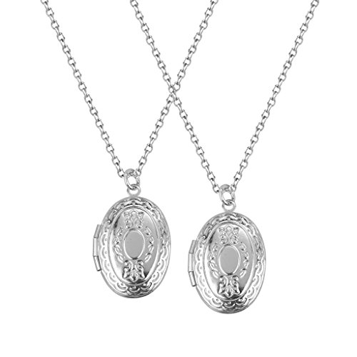 Lux Accessories Matching Picture Lockets BFF Best Friends Forever Pendant Necklace (2 PC).