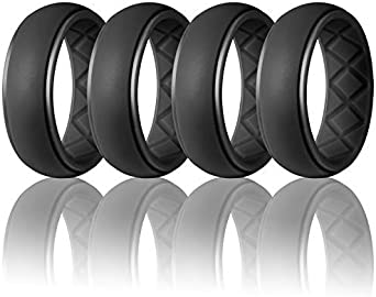 Size 8 9 10 11 12 13 Safe and Comfortable Egnaro Silicone Wedding Ring for Men Detachable Carbon Fiber Pattern Rubber Wedding Bands