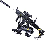 Ebony Gold Pattern Scar Assault Rifle Keychain, Alloy Weapon Three-Piece Suit Model