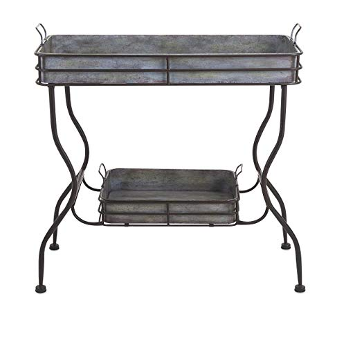 - IMAX 65361 Maggie Galvanized Tray Table - Unique Accent Table for Garden, Patio, Porches, Metal Organizer with Two Trays. Accent Furniture