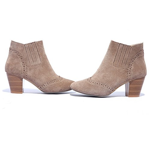 Boots Flower toe heels Carved and Chunky Closed AmoonyFashion Kitten toe Nude with Round Heels Women's 0vCqwSH