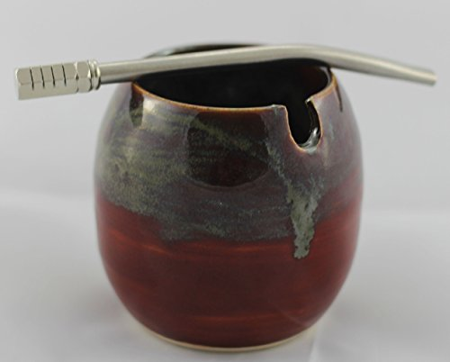 Ceramic Mate Gourd with Side Hole for Mate Straw aka Yerba Mate Cup Red Mixed Swirl with 5.5