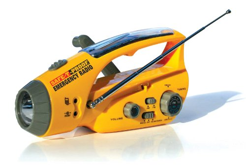 Radio Hand Crank Flashlight (Safe-T-Proof Solar, Hand-Crank Emergency Radio, Flashlight, Beacon, Cell Phone Charger)