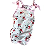 Stock Show 1Pc Pet Dog Diapers One-piece Garment, Printed Cotton Suspender Sanitary Physiological Pants Bodysuit for Cats Puppy, Red Cherry/Pink Fairy
