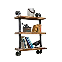 NACH qa-1006 Collection Industrial Style Pipe Shelving, Black Rustic Pine Wood