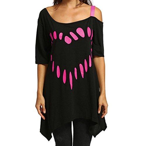 Femmes Vif À Rose Chemise Blouse ❤️Grande Taille Courtes Chemise Manches Amour Décontractée Impression Tops Tefamore 5C6Cpnqw