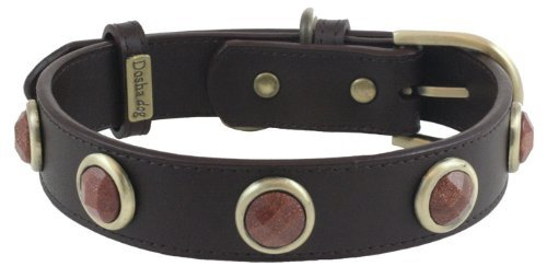 Faceted Gold Sand Stone Brown Leather Dog Collar - Medium