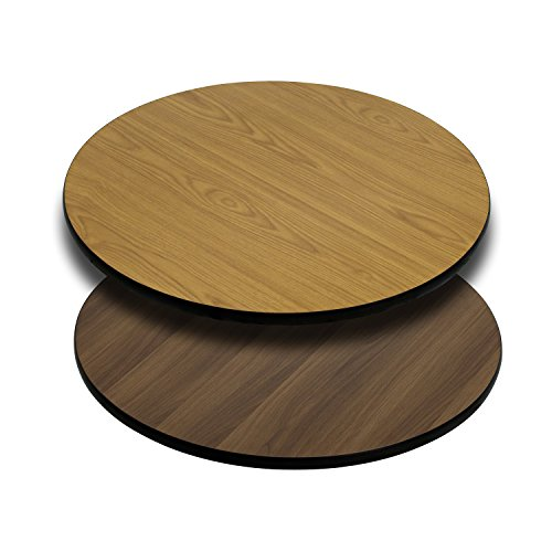 Flash Furniture 30'' Round Table Top with Natural or Walnut Reversible Laminate Top ()
