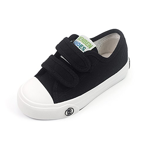 Toddler Canvas Shoes (BENHERO Fashion Sneakers Kids Classic Casual Velcro Canvas Shoes for Boys Girls (Toddler/Little Kid) (7.5 M US Toddler, 880 Black))
