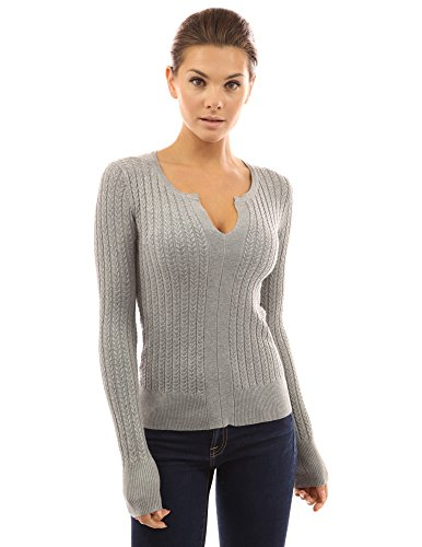 - PattyBoutik Women's Notch Neck Cable Sweater (Light Gray M)
