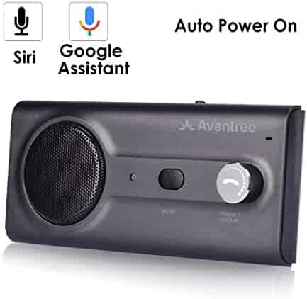 2018 Avantree NEW Bluetooth Handsfree Visor Car Kit with Siri, Google Assistant Voice Command, Auto Power On Wireless In Car Hands Free Speakerphone, 2W Powerful Speaker, Support GPS, Music, Calls