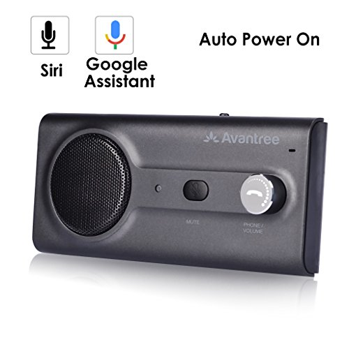 2018 Avantree New Bluetooth Handsfree Visor Car Kit with Siri, Google Assistant Voice Command, Auto Power On Wireless in Car Hands Free Speakerphone, 2W Powerful Speaker, Support GPS, Music, (Online Auto Manual)