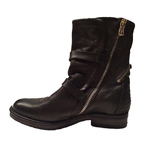 Stiefeletten 98 Damen Schwarz Zierschnallen mit Aus Boots S in mit Leder Schönen A HFUxTT
