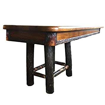 Attrayant Hickory Log Trestle Dining Table With 4 Legs   60u0026quot; Length With 2  12u0026quot;