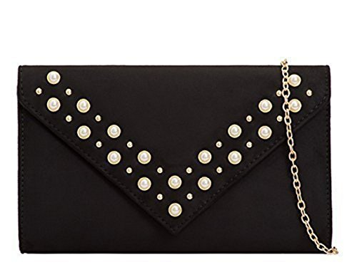 Faux I16 Suede Clutch Black Party Pearl Bags Evening Dressy Occasion Hand Prom Ladies Studded Womens gCnwq45q
