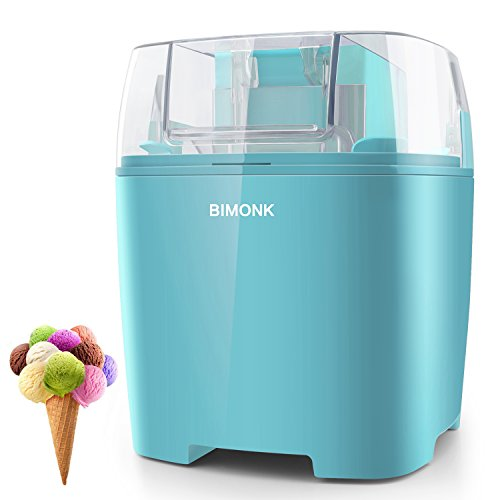 BIMONK Ice Cream Maker, for Kids DIY Frozen Yogurt, Gelato Or Sorbet Maker, with Control Knob and Auto Shut Off, BPA Free Electric ice Cream Machine for Home - 1.5 Quart, Blue