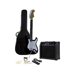 RockJam voller Größe E-Gitarre Superkit mit Gitarrenverstärker Gitarrensaiten Gitarrentuner Gitarrengurt Gitarrenkoffer…