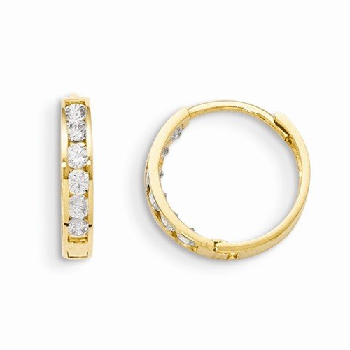 14k Yellow Gold Children Girl Baby Kids Toddler CZ Cubic Zirconia Hinged Hoop Earrings (14mm x 3mm) by Sonia Jewels