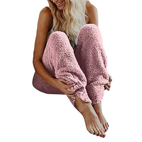 Price comparison product image Womens Fuzzy Fleece Pajama PJ Bottoms Pants Winter Warm Cozy Plush Lounge Sleepwear (L,  Pink)
