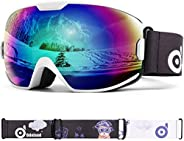 Odoland Kids Ski Goggles - Helmet Compatible Snow Goggles with 100% UV Protection - OTG and Anti-Fog Double Le