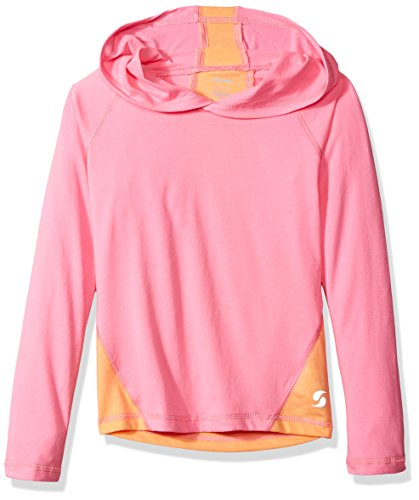 Soffe Girls' Big Colorblock Hoody, Pink Lemonade/Sun Coral, Large ()