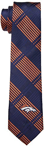 NFL Denver Broncos Men's Woven Polyester Skinny Plaid Tie, One Size, Multicolor
