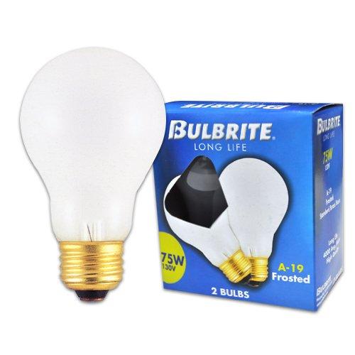 (Bulbrite 75A 75-Watt 130-Volt Long Life Standard Incandescent A19 2-Pack, Frost)