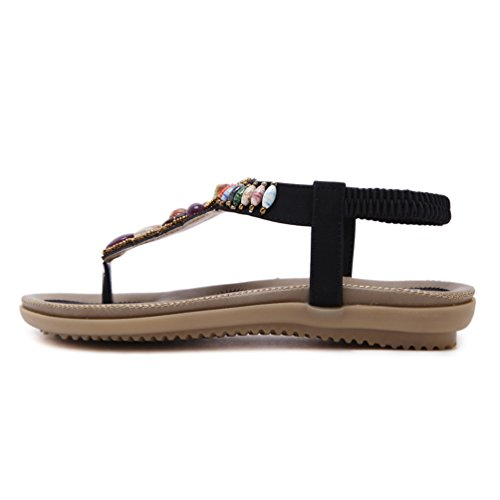 Sandalias de vestir para mujer, YoungSoul Sandalias etnicas planas con cuentas Zapatos de verano bohemia Chanclas playa Negro